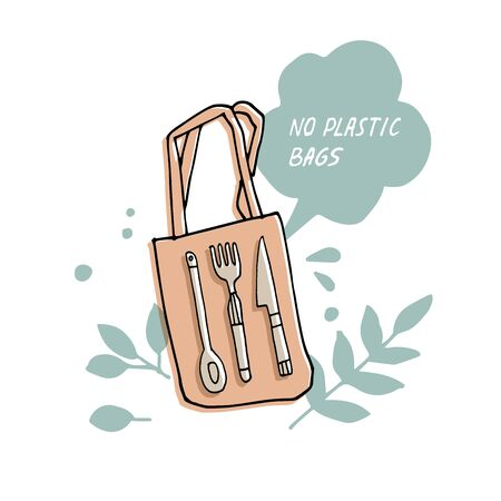 Vector illustration zero waste, recycle, no plastic bags. Environment protection quote Çizim