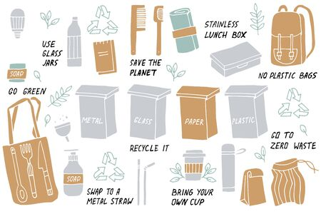 Vector illustration zero waste, recycle, eco friendly tools, collection of ecology icons with slogans. Bundle of vector label. Environment protection quote Illustration