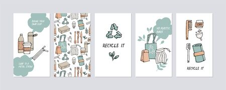 Vector illustration zero waste, recycle, eco friendly tools, collection of ecology icons with slogans. Environment protection quote. Social media story highlight Illustration