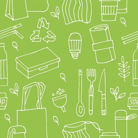 Seamless pattern zero waste, recycle, eco friendly tools, collection of ecology icons