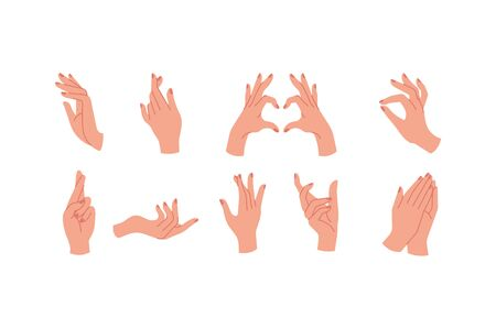 Vector design linear template logos or emblems - hands in in different gestures Çizim