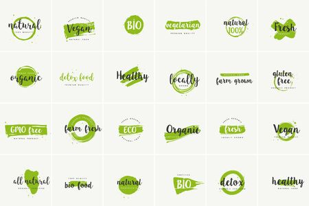 Organic food, farm fresh and natural product icons and elements collection for food market, ecommerce, organic products promotion, healthy life and premium quality food and drink. Ilustração