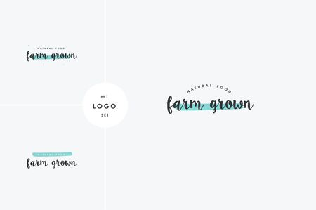 Farm grown product icons and elements collection for food market, ecommerce, organic products promotion, healthy life and premium quality food and drink. Illustration