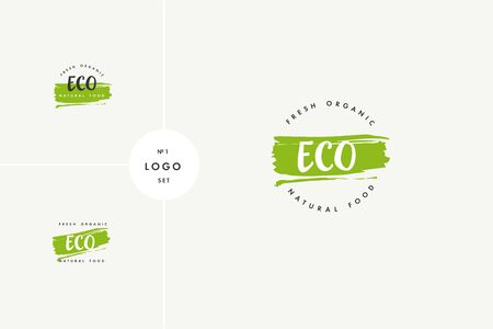 Eco product icons and elements collection for food market, ecommerce, organic products promotion, healthy life and premium quality food and drink.
