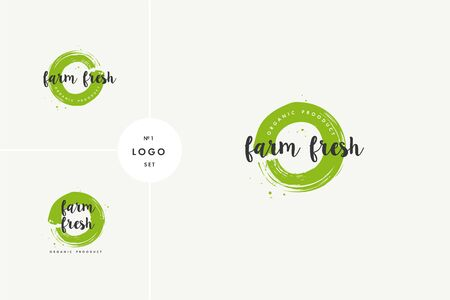 Farm grown product icons and elements collection for food market, ecommerce, organic products promotion, healthy life and premium quality food and drink. 向量圖像