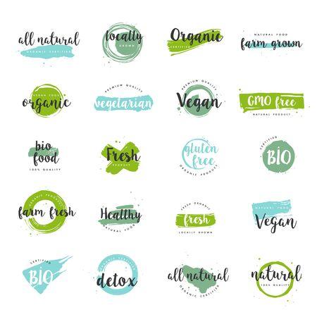 Bio-Lebensmittel, bauernhoffrische und natürliche Produkte Symbole und Elemente Sammlung für Lebensmittelmarkt, E-Commerce, Förderung von Bio-Produkten, gesundes Leben und hochwertige Lebensmittel und Getränke. Vektorgrafik