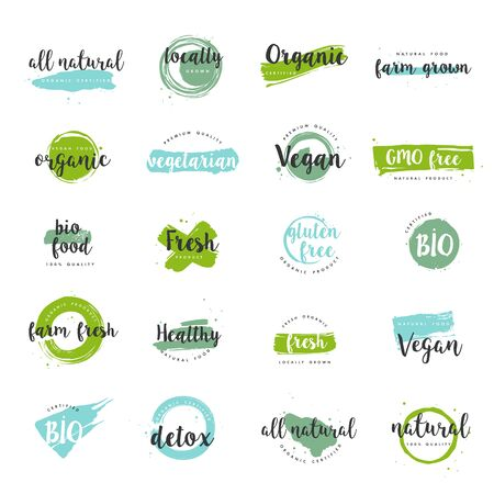Organic food, farm fresh and natural product icons and elements collection for food market, ecommerce, organic products promotion, healthy life and premium quality food and drink. Vector Illustration