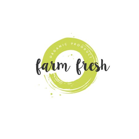 Farm grown product icons and elements collection for food market, ecommerce, organic products promotion, healthy life and premium quality food and drink. Stock Illustratie