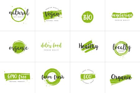 Organic food, farm fresh and natural product icons and elements collection for food market, ecommerce, organic products promotion, healthy life and premium quality food and drink. 向量圖像