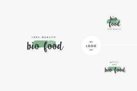 Bio natural product icons and elements collection for food market, ecommerce, organic products promotion, healthy life and premium quality food and drink.