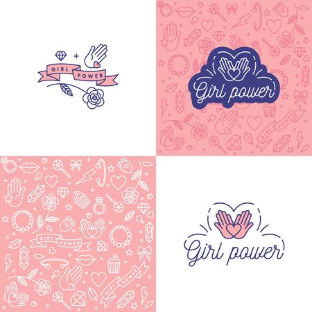 Vector illustration set in simple style with hand-lettering phrase girl power - stylish print for poster or t-shirt - feminism quote and woman motivational slogan. Pattern and background.