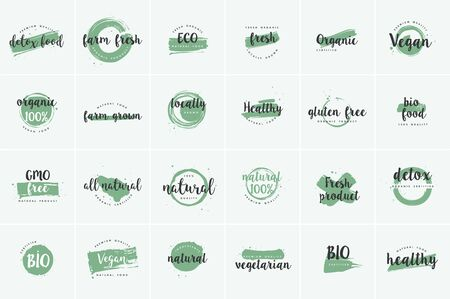 Organic food, farm fresh and natural product icons and elements collection for food market, ecommerce, organic products promotion, healthy life and premium quality food and drink. Иллюстрация