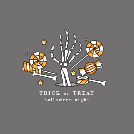 Vector illuatration raise human bone hand with different candies. Happy Halloween party celebration.