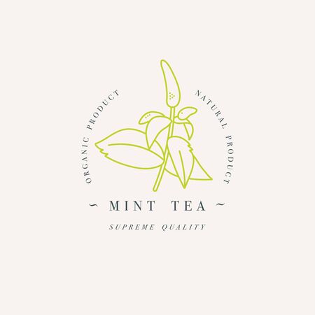 Vector design colorful templat logo or emblem - organic herb mint tea. Logos in trendy linear style isolated on white background.