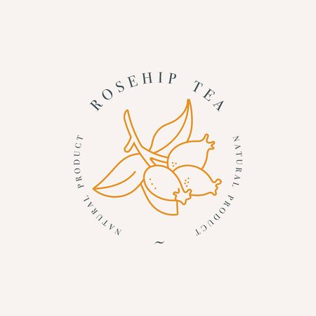 Vector design colorful templat logo or emblem - organic herb rosehip tea. Logos in trendy linear style isolated on white background.