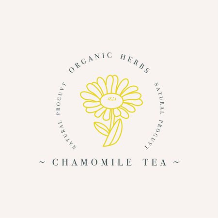 Vector design colorful templat logo or emblem - organic herb chamomile tea. Logos in trendy linear style isolated on white background.