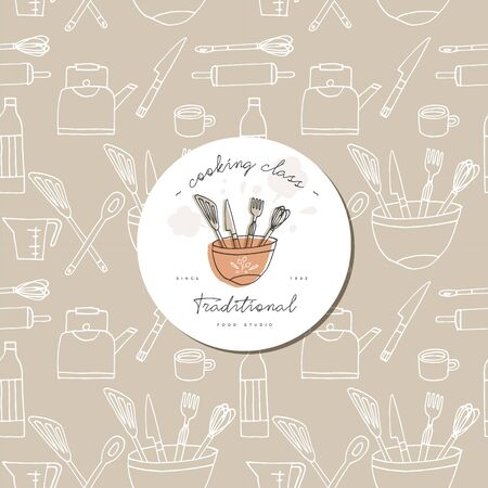 Vector hand drawing engraving seamless pattern with design template label or logo for cooking courses. Иллюстрация