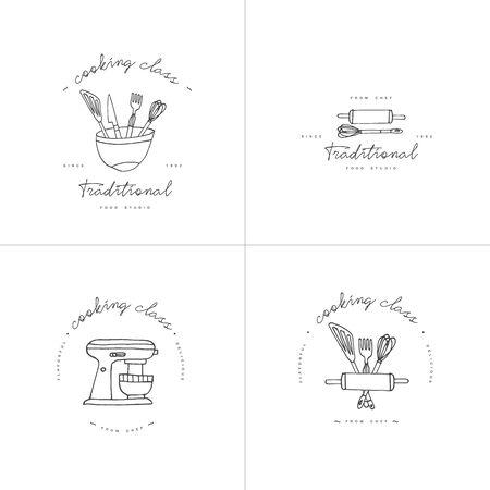 Lineare Designelemente der Kochklasse, eine Reihe von Küchenemblemen, Symbolen, Symbolen oder Lebensmittelstudio-Etiketten und Abzeichensammlung. Kochkurse unterzeichnen Vorlage oder Logo, Identität, Kochschule. Logo