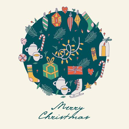 Vector hand draw design for Christmas greetings pattern. Seamless Xmas background, banners or posters and other printables. Winter holidays design elements. 向量圖像