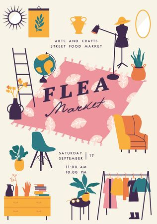 Vector illustration flea market poster with vintage clothes and accessories shop, cartoon flat design. Retail store sale invitation. Rag fair