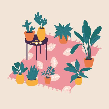 Vector illustration plants in pots collection. Trendy home decor with plants, cactus, tropical leaves. Bundle of trendy potted plants