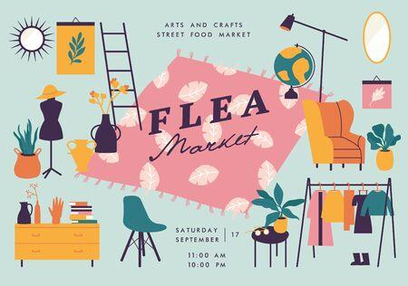 Vector illustration flea market poster with vintage clothes and accessories shop, cartoon flat design. Retail store sale invitation. Rag fair