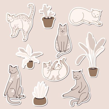 Vector linear illustration set of adorable catsn in different poses sleeping, stretching itself, playing. Cats breeds. Иллюстрация