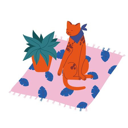 Vector illustration spotted cat sitting on the carpet near a flower pot. 向量圖像