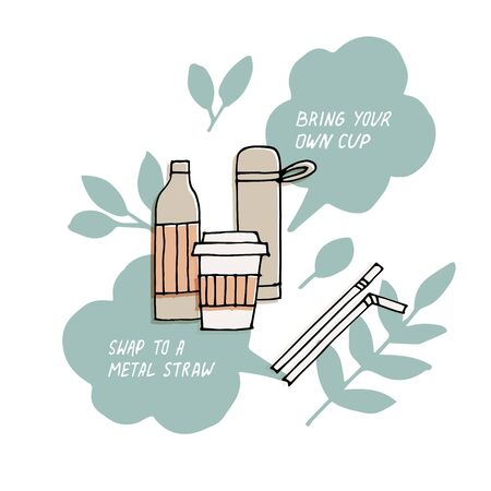 Hand draw illustration reusable bottle, cup, thermos or flask with metal straws. Zero waste tips. Vector stickers, pins. Environment protection quote.