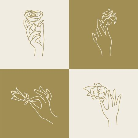 Vector design linear template logos or emblems - hands in in different gestures with flowers. Abstract symbol for cosmetics. Иллюстрация