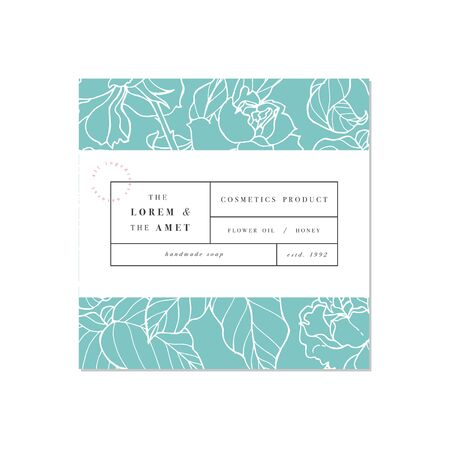 Vector patten for cosmetics with label template design. Pattern or wrapping paper for package and beauty salons. Botanical collection. Иллюстрация