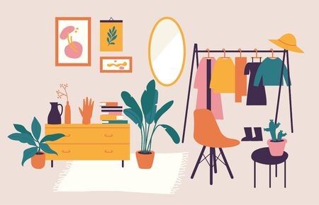 Vector illustration interior with stylish comfy furniture and home decorations. Icons of living rooms or apartments with furnished home plants.
