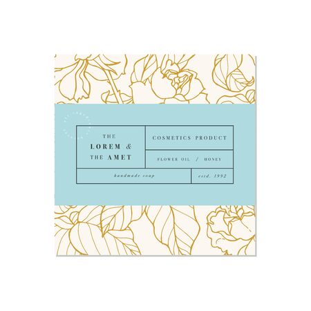 Vector patten for cosmetics with label template design. Pattern or wrapping paper for package and beauty salons. Botanical collection. 向量圖像