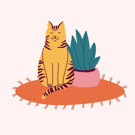 Vector illustration happy striped cat sitting on the carpet near a flower pot. Illustration