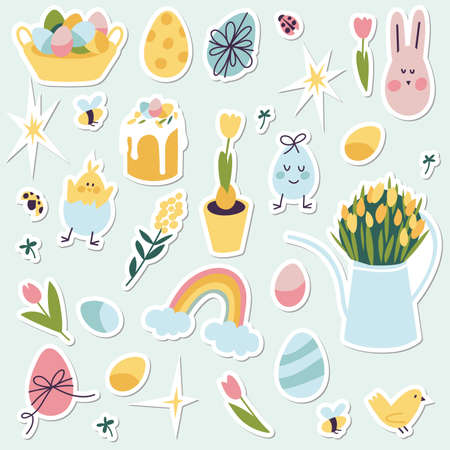 Colorful vector patch badges with Happy Easter icon. Vector linear design Easter greetings elements. Vector stickers, pins for spring holidays. Stock Illustratie