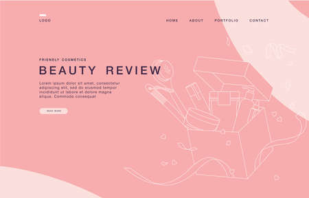 Landing page template for websites with linear illustration unpackaging beauty box with cosmetics. Concept of cosmetics review..