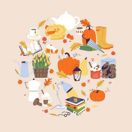 Vector illustration autumn collection. Fall cozy style. Decorative set of autumn elements and accessories. Stock Illustratie