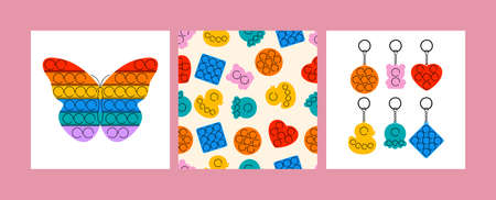 Vector illustration set of trendy sensory popit fidgets. Rainbow anti stress toys with trinket. Seamless pattern.