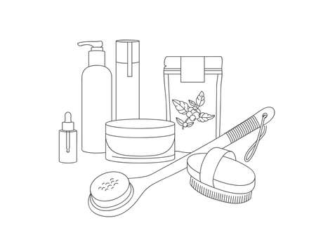 Vector linear illustration set wood dry brush for scrubbing body with coffee scrub, lotion and cosmetic cream. Beauty tool for daily body care. Stock Illustratie