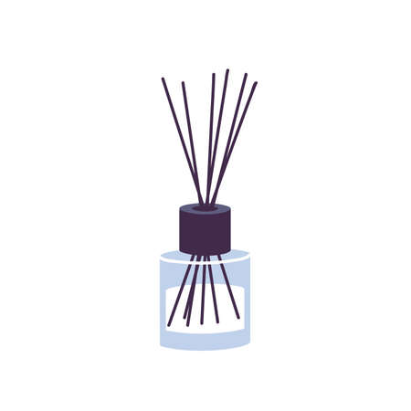 Vector illustration aromatherapy reed diffuser with bamboo sticks for home isolated on whie background.