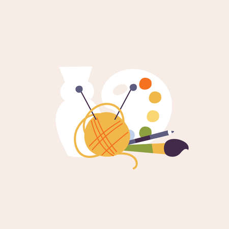 Vector illustration set of art objects for creative hobby. Color paint with brush and pencil, ball of thread for knitting and clay pot. Stock Illustratie
