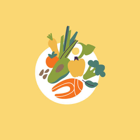 Vector illustration healthy food concept. Plate full of greenery, nuts, red fish, vegetables and avocado. Stock Illustratie