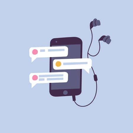 Vector illustration chating and messaging concept. Smartphone device with headphones.