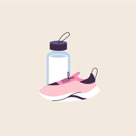 Vector illustration of healthy and active lifestyle concept. Running pink sneakers and water bottle. Stock Illustratie
