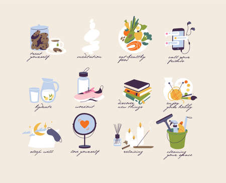 Vector illustration concept of self care and healthy lifestyle. Set icons of self care routine. Stock Illustratie