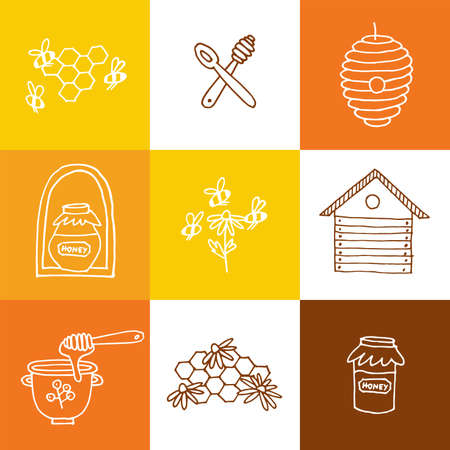 Vector set illustartion logos and design templates or badges. Organic and eco honey labels and tags with bees. Linear style.