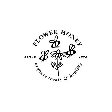 Vector illustartion logo and design template or badge. Organic and eco honey label- flower for honey. Linear style.