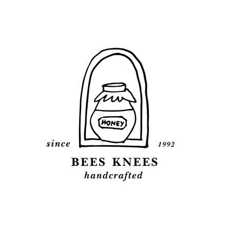 Vector illustartion logo and design template or badge. Organic and eco honey label- bottle of honey. Linear style. Stock Illustratie