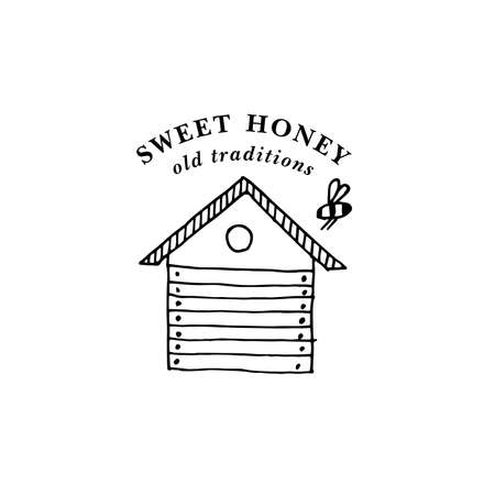 Vector illustartion logo and design template or badge. Organic and eco honey label- bees hibe. Linear style.