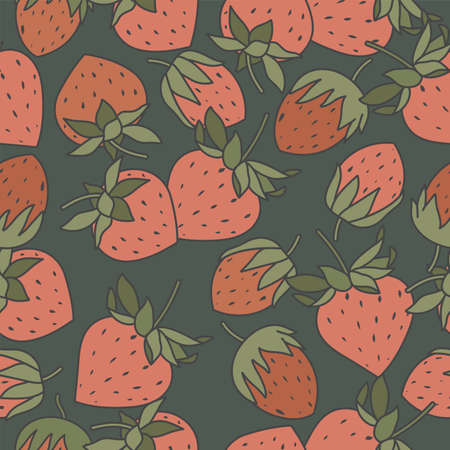 Vector illustration seamless pattern with strawberries. Vintage abstract design for paper, cover, fabric, interior decor,